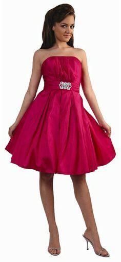 knee length fuchsia bridesmaid dresses