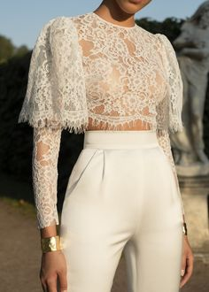 Casual Sexy Hollow Out Perspective Short Style Lace T Shirt - moda Look Fashion, High Fashion, Womens Fashion, Fashion Trends, Trendy Fashion, Fashion Art, Fashion Ideas, Classy Fashion, Cheap Fashion