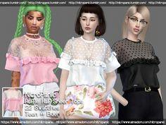 The Sims 4 Ruffle Half Sheer Tops Sims 4 Teen, Sims 1, Sims 4 Mods Clothes, Sims 4 Clothing, Cc Top, Sims 4 Black Hair, Sims 4 Dresses, Sims 4 Cc Packs, The Sims 4 Download
