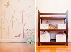 Pink Vintage Bird Nursery- maybe with vinyl in purple, yellow, green, and brown