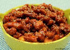 Delicious Honey Sesame Chicken recipe { lilluna.com }