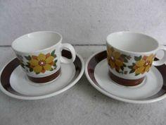 Figgjo - Flora Cool Mugs, Tea Cups, Retro, Tableware, Glass, Vintage, Dinnerware, Drinkware, Tablewares