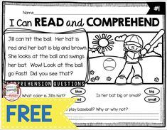 Freebie Reading passages with comprehension questions - kindergarten and first grade guided reading groups - FREE printables and activities to teach fluency - vocabulary - sight words - comprehension for each week Pre Reading Activities, Guided Reading Groups, First Grade Activities, Reading Worksheets, Student Reading, Teaching Reading, Free Reading, Beginning Reading, Free Worksheets
