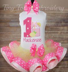 Pink Lemonade Birthday Ribbon Trim Tutu by TinyTotsEmbroidery