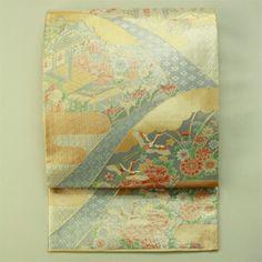 Gold, rokutsu fukuro obi / 金地遠山取りの花鳥風景柄六通袋帯