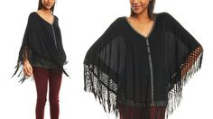Fringed Button-Up Poncho -What a fun piece to have in the closet