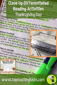 Thanksgiving Day Close Reading Comprehension Passages with Questions. This resource has everything a teacher needs for a unit on Thanksgiving Day. Differentiated Reading Passages about the history of Thanksgiving Day, and how Thanksgiving Day is celebrated today, along with Close Reading activities make this unit of study interesting and engaging for students. #CloseReading #Thanksgiving #ReadingIdeas #TeachingIdeas #GradeFour #Mayflower #Celebration