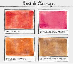 hot sauce + 6th grade nail polish + pillbox orange + grandma's upholstery