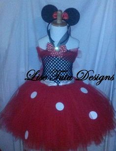 Minnie Mouse Themed Tutu Dress In Red and Black by LiseTutuDesigns