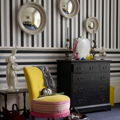 I'm thinking about a multi-colored stripe inside my bedroom closet. A bit like this, but probably grey, black and coral.
