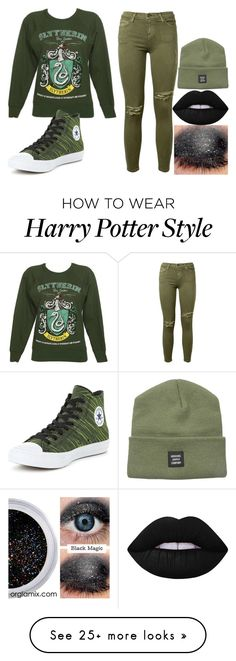 """""""Untitled #173"""" by mythoughtsonfilm on Polyvore featuring Current/Elliott, Converse, Lime Crime and Herschel Supply Co."""