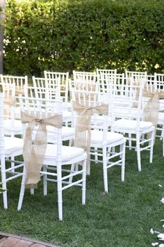 Burlap ties. Photography by angiesilvy.com, Event Design by springloaf.com, Floral Design by floraldesigner.com