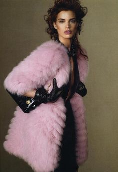 Pink fur coat, twist fuzzy and color of flower