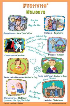 Italian Language Poster - Festivita' / Holidays: Bilingual Chart for Classroom and Playroom