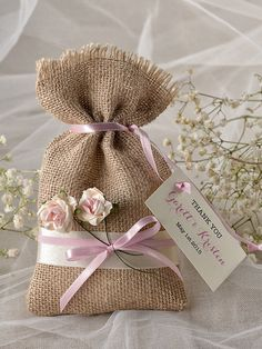 Add your favorite goodies for an instant favor to offer your guests.    Natural Rustic Burlap Wedding Favor Bag with Lace and birch bark herat