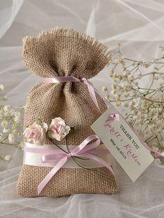 Custom listing (20) Pink Rustic Favor Bag, Rustic Wedding Bag, Wedding Favor Bag, Burlap Favor Bag, Lets love grow,