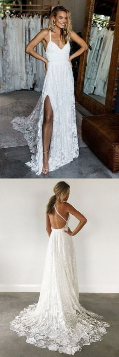 beach wedding dresses, a-line deep v-neck lace wedding gowns with court train,