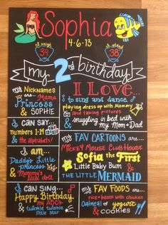 Hand Painted Little Mermaid Customized Birthday Board by BeYoutifulVAriety on Etsy