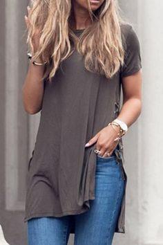 Stylish Round Neck Short Sleeve Slit Lace-Up Women's T-Shirt