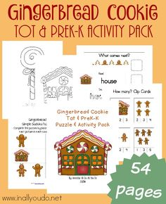 Christmas time is a great time for making Gingerbread Cookies. Little ones will enjoy the fun activities in this Tot & PreK-K Pack! {54 pages}