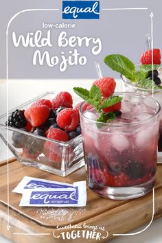 Looking for a delicious way to add more fruit to your diet? Unwind this summer with a refreshing Wild Berry Mojito made with zero-calorie Equal® sweetener. Even though you may want to keep this sweet secret to yourself, invite a friend over to share in the sweetness!
