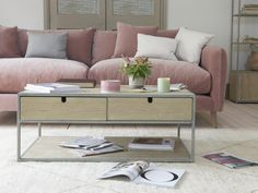 When guests rock up early and you need to clear the decks, the deep drawers on this storage coffee table will be a godsend. Coffee Table With Storage, Coffee Table Design, Coffee Tables, Sofa Inspiration, Comfy Sofa, Upholstered Sofa, New Homes, Couch, Living Room