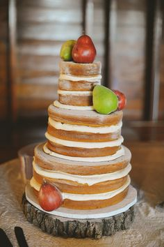 Rustic wedding cake with pears for fall.