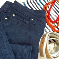 Nine West dark wash straight leg jean This is a closet staple! Nothing more stylish than a dark wash denim and silky blouse with LOTS of jewelry. I like to be more casual with rolled cuffs, those white (or leopard!) sneaks and a slouchy tee or sweater while running errands. (Or drinking mimosas.) We all know you have perfected the Saturday morning messy bun. Another wardrobe staple... Nine West Jeans Straight Leg