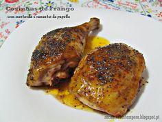 Coxinhas de frango com mostarda e sementes de papoila