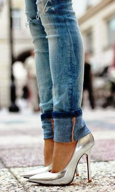 Distressed jeans and high heel silver color flats