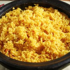 Latin Yellow Rice Recipe add yellow chic broth seasonings with green chive packets add red yellow pepper to rice Cauli and some spicy seas