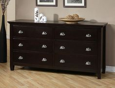 Graceful Dark Wood Dresser With 6 Drawer Ideas