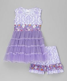 Look what I found on #zulily! Purple Damask Tunic & Ruffle Shorts - Infant, Toddler & Girls #zulilyfinds