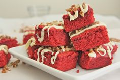 """A chewy, light, red velvet brownie full of that classic red velvet flavor. Drizzled with wh..."