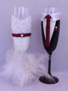 Ποτήρια Σαμπάνιας Μπορντό 40.00€ Bottle Art, Flute, Wine Glass, Bottles, Champagne, Wedding Ideas, Weddings, Tableware, Party