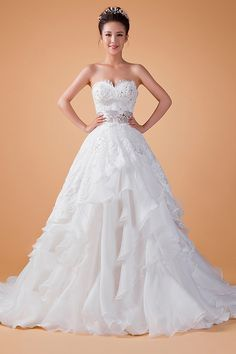 A-line Sweetheart Natural Sleeveless Crystal Lace-up Organza Court Train Wedding Dress