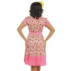 'Ariadne' Pink Bee Floral Print Tea Dress