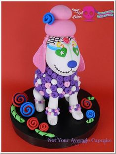 """This was created for the 2015 Sugar Skull Bakers International Collaboration. My piece is called """"Bouffant Poodle."""" Poodles are such intelligent, beautiful, loyal, and well-groomed creatures. And this poodle wanted her hair done up extra-high and. Chocolate Ganche, Sugar Skull Cakes, Day Of The Dead Cake, Gravity Defying Cake, Pull Apart Cupcakes, Rolling Fondant, Colorful Cakes, Love Cake, Creative Cakes"""