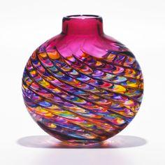 Jewel with Strawberry optic rib vase by Michael Trimbol