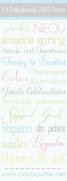 I'm super excited to share with you my favorite fonts today! I love them because they're adorable (duh!) and FREE! I get most (if not all) of my fonts from dafont.com. Click on the font name below to be taken to the download page. I will be back next week to show you how to install these fonts on your computer if you aren't sure how to use them once you've downloaded them. It's really easy!  1. Quickier download  2. Neou download  3, Seasons spring  4. Arrivals and Departures  5…