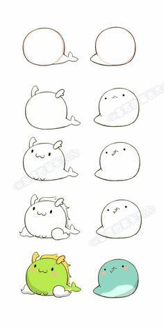 Dragon et serpent kawaii Doodle Art, Doodle Drawings, Easy Drawings, Snake Doodle, Cute Animal Drawings, Kawaii Drawings, Cartoon Drawings, Kawaii Doodles, Cute Doodles