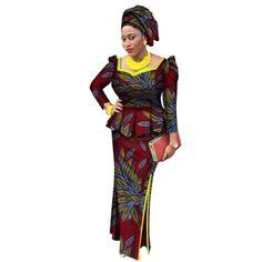8f20ef167 Africa Bazin Riche Dress For Women 2Pc Set Women Long Sleeve Top and Long  Skirt
