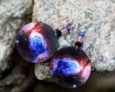 Space Earrings Galaxy Nebula  Dangle Round Jewelry by MADEbyMADA, $17.00