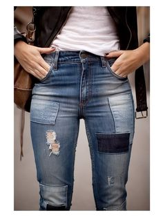 jeans with patches, love the worn in look!