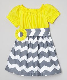 Loving this Yellow & Gray Chevron Dress & Sash - Infant, Toddler & Girls on #zulily! #zulilyfinds