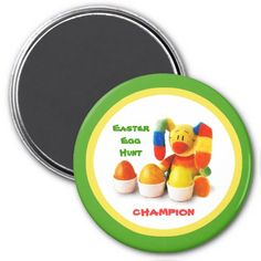 Easter Egg Hunt Champion. Funny Easter Bunny Gift Magnets for kids. Matching cards, postage stamps and other products available in the Holidays / Easter Category of the artofmairin store at zazzle.com