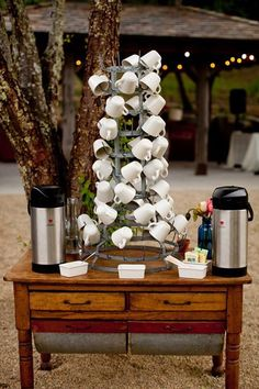 I'm in love with the idea of a coffee/tea bar at weddings. a delicious smelling little warm drink station with tiny sweets to fight back against the chill as evening comes- because a cozy warm drink will help you keep dancing! #DrinkBar #CoffeBar