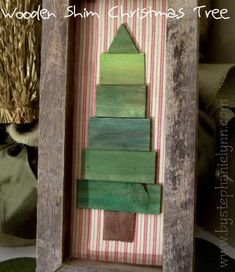 DIY Wooden Frame and Shim {paintstick} Christmas Tree - bystephanielynn