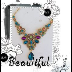 Turquoise with purple Beautiful turquoise,purple, orange and green necklace Jewelry Necklaces