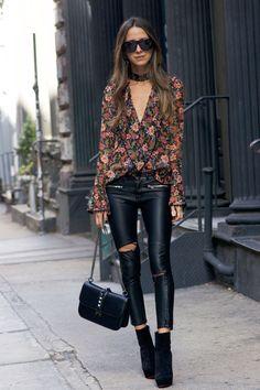 faux leather pants, floral top, christian louboutin shoes